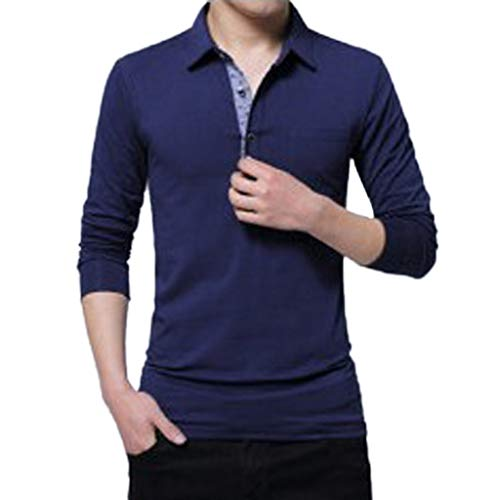 AIni Herren FrüHjahr Beiläufiges 2019 Neuer Lange Ärmelumfangd Revers Button Baumwolle T-Shirt Tops Bluse Warm Jacke Coat Mäntel 2019 Neuheit(XL,Blau)