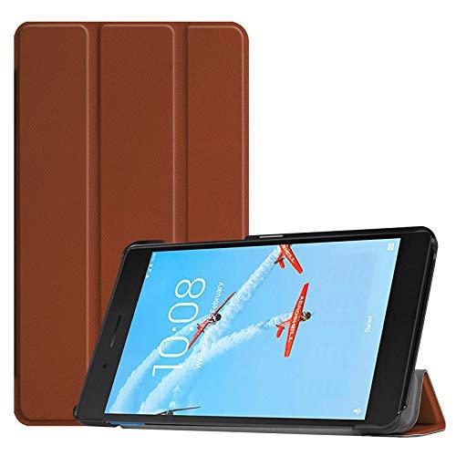Lobwerk Cover für Lenovo Tab E7 TB-7104F 7 Zoll Tablethülle Schlank mit Standfunktion & Auto Sleep/Wake Funktion Braun