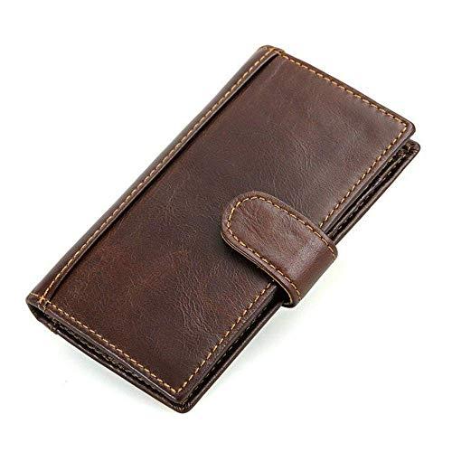 YXDEW Hombres Carteras con Bolsa de Teléfono Aceite Cera de Cera Cartera Male Embrague Monedero Monedero Monedero Billetera Estilo Simple