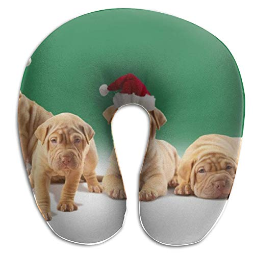 Cool Christmas Hat Dogs Cuscino per collo a forma di U Confortevole morbido cuscino da viaggio in microfibra per supporto collo per casa, dolore al collo