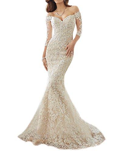 Tianshikeer Meerjungfrau Hochzeitskleid Langarm Spitze Tüll Brautkleider