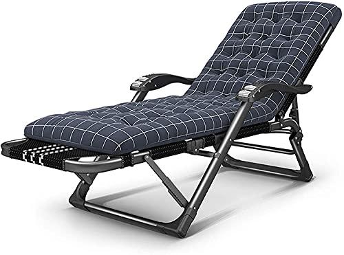 Silla plegable al aire libre reclinable Silla de la cubierta de la silla de la cubierta de la silla de cubierta ajustable Silla de salón con cojín Cuna plegable Cuna Reclinable plegable al aire libre