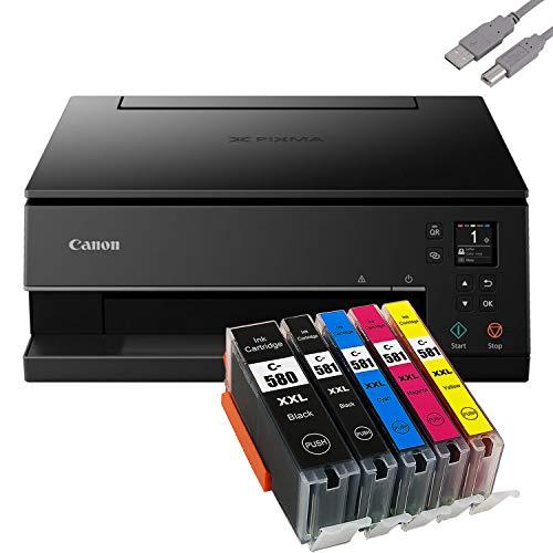 Bundle Canon PIXMA TS6350 Tintenstrahldrucker Multifunktionsgerät (Drucker, Scanner, Kopierer) mit 5 komp. Youprint® Tintenpatronen für PGI-580/CLI-581 XXL +USB-Kabel