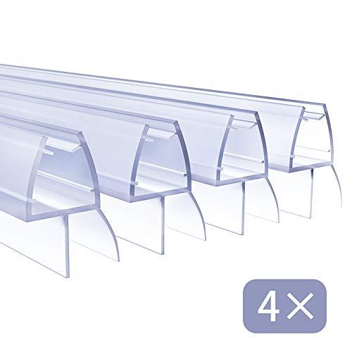 4 x 100cm Duschdichtungen für Duschtüren, 6mm 7mm 8mm Dichtung Dusche Glastür, Transparent Duschdichtung Glasdicke, Wasserabweisende Ersatzdichtung für Dusche, Schwallschutz Dichtkeder
