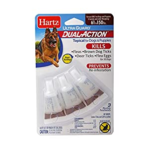 Hartz UltraGuard Dual Action Topical Flea & Tick Treatment for Dogs and Puppies – 61-150lbs, 3 Monthly Treatments