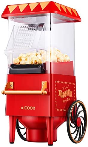 Popcorn Maker Retro AICOOK 1200W Hot Air Home Popcorn Popper with Measuring Cup ETL Certified product image