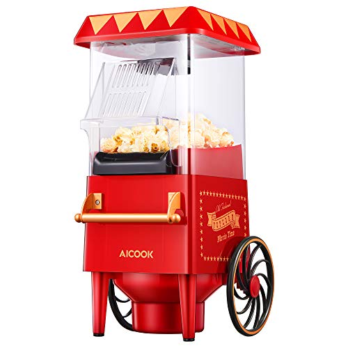 Popcorn Maker Retro, AICOOK 1200W Hot Air Home Popcorn Popper with Measuring Cup, ETL Certified, BPA-Free, Vintage Style Popcorn Machine for Movie Nights, Red