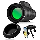 40x60 Monocular Telescopes, Waterproof Monocular for Adults with Smartphone Holder & Tripod, High Power HD Monoculars for Bird Watching Hunting Camping Hiking Wildlife Scenery Sports Games