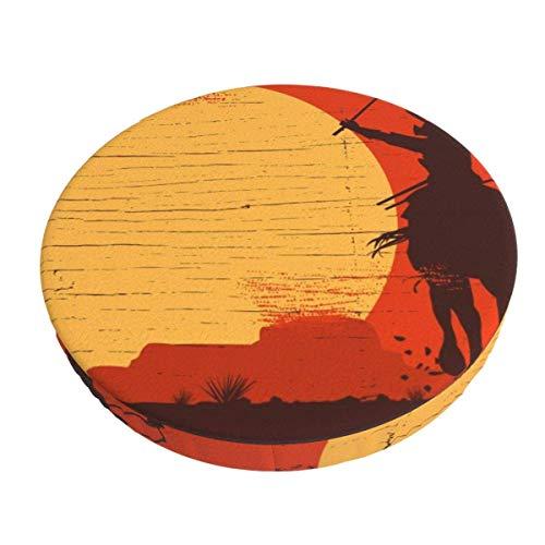 AEMAPE Fundas de Taburete de Bar Samurai de 13 Pulgadas a Caballo al Atardecer, Fundas de cojín Redondo para Silla, Lavable para Hotel en casa