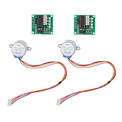 HUABAN 2 Pack 28BYJ-48 DC 5V Stepper Step Motor with ULN2003 Driver Test Module Board