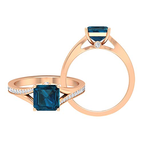 Rosec Jewels 14 quilates oro rosa asscher Round Brilliant Blue Topacio azul - Londres Moissanite