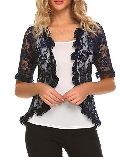 ELESOL Women Fitted Half Sleeve Bolero Ruffle Hem Cardigan Lace Shrug for Dress Navy Blue M