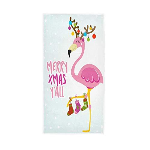 "Merry Xmas Flamingo Hand Towel Ultra Soft Luxury Towels for Bathroom 30""x15"""
