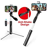 Selfie Stick,MOCREO Selfie Stick Gimbal Stabilize with LED Light Smooth Video Record Extendable Anti Shake Selfie-Stick-Remote-Control-Tripod for Live Broadcast Compatible with iPhone&Andriod