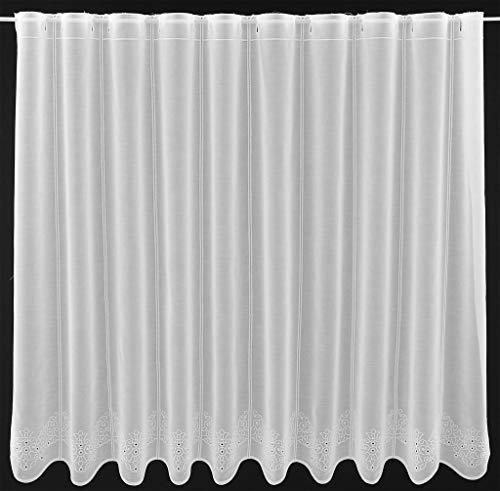Tenda della finestra ricamato sotto con motivo traforato altezza 90 cm | Può scegliere la larghezza in segmenti da 16 cm, come vuole | Colore: Bianco | Tendine cucina