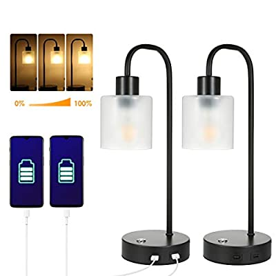 Industrial Touch Control Table Lamps Set of 2, Tomshine Stepless Dimmable Bedside Table Lamps with 2 USB Ports, Nightstand Lamps with Glass Shades for Bedroom, Living Room, Office(2 Bulbs Included)