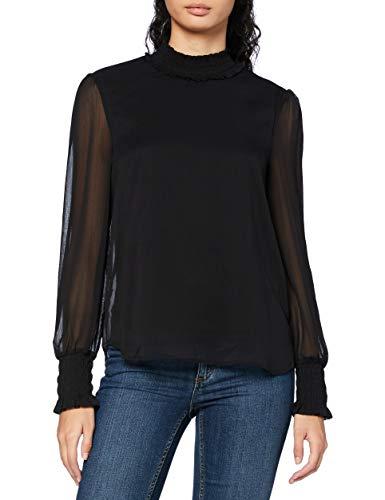 Vero Moda Vmsmilla LS Top Ga Noos Camiseta sin Mangas, Negro, L para Mujer