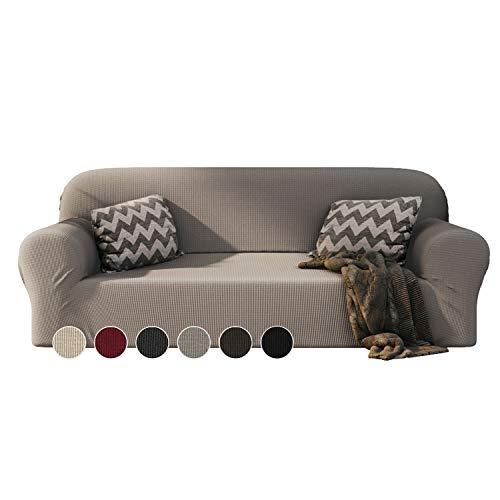 Dreamzie - Fundas Sofa Elasticas 3 Plazas - 60% Algodón Reciclado - Certificada Oeko-Tex sin Productos Químicos - Fabricada en España - Beige