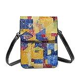Bolso de cuero para niñas, bolso de hombro, pintura al óleo abstracta, moderno, contemporáneo, ligero, RFID bloqueando cartera con cinturón ajustable, Pinturas al óleo, Talla única