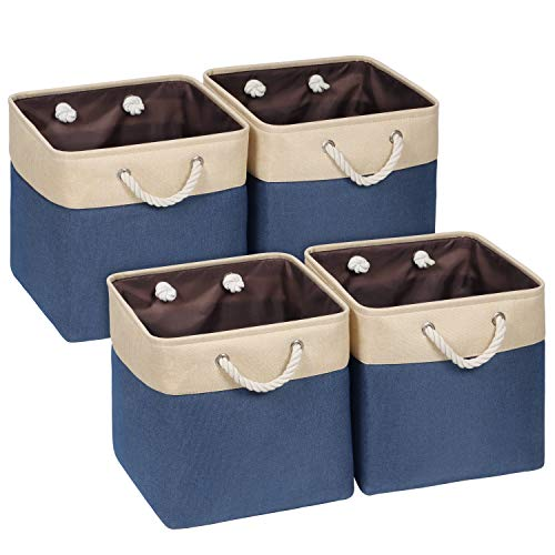 Univivi Storage Baskets Cube Set of 4,Storage Box Fabric With Two Cotton Rope Handles,Organiser Tidy Storage Boxes Household 4 Pack for Home Item, Canvas Sturdy Durable, Foldable(Navy -13inch)