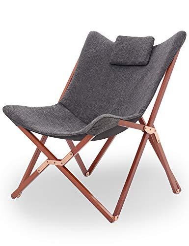 Suhu Klappstuhl Camping Stuhl Lounge Sessel Modern Design Retro Stühle Liegestuhl Klappbar Gartenliege Auflagen Hochlehner TV Relaxliege Mit Holzrahmen Stoff Für Balkon (Dunkel Grau)