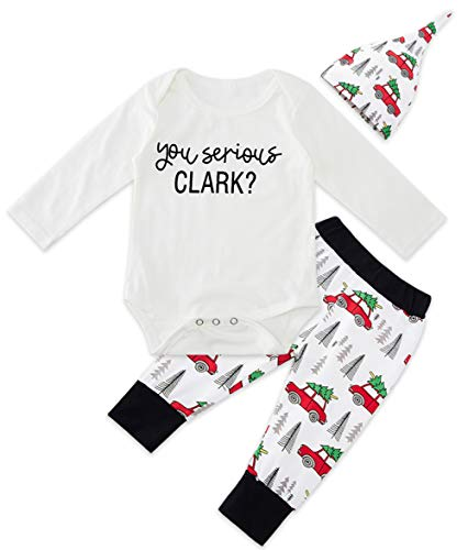 You Serious Clark Baby Outfit Adorable White Romper Holiday Onesie and Truck Car with Christmas Tree Long Pants Warm Cozy Cute Pajama Set 3pcs Sunsuits & Cute Hat