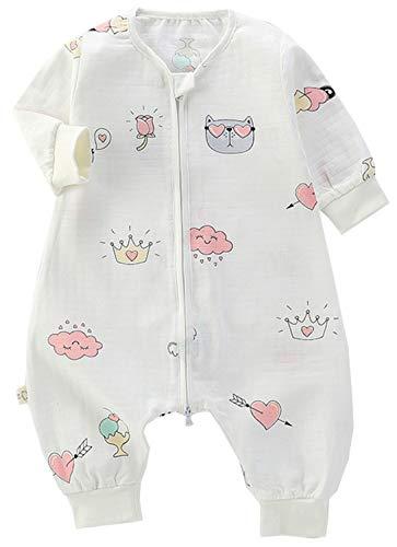 Chilsuessy Baby Schlafsack für Kleinkinder, Ganzjährig,1 Tog Sommer Schlafsack mit Füssen Schlafanzug leichter Babyschlafsack Jungen und Mädchen, Weiße Katze, 100/Baby Höhe 85-95cm