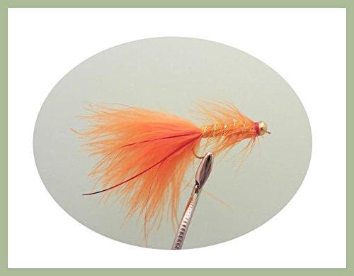 Lot de 12 leurres de pêche à la mouche - Orange -...