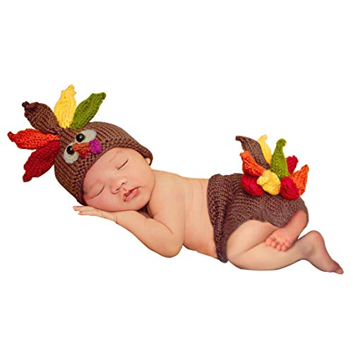 ISOCUTE Newborn First Thanksgiving Day Photography Props Turkey Outfit Hat Shorts for Baby Monthly Photo Crochet Knitted Costume Shower Gifts Coffee