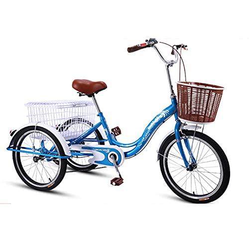 Bicicletas de 3 Ruedas Bicicleta de Tres Ruedas con Cesta Bicicleta de Tres Ruedas para Adultos Triciclos de 20 Pulgadas Cuadro de Acero de Alto Carbono Bicicletas de Tres Ruedas Triciclo de Crucero
