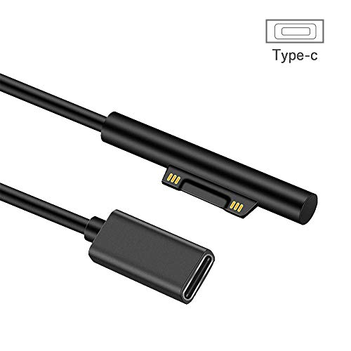 aifulo Surface auf USB C Kabel pro 3 Adapter Schwar 15V 3A PD Schnellladekabel Kompatibel mit Surface Pro 6, 5, 4, 3, Surface Book, Surface Go, Surface Laptop