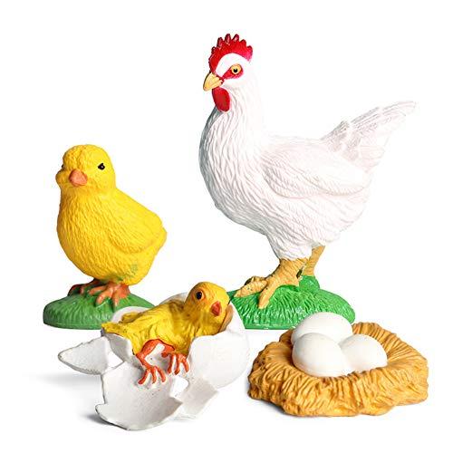 Modelo de Ciclo de Crecimiento de gallo en Miniatura, simulación Animal Estatua Juguete niños Aprendizaje temprano Juego Cognitivo, Accesorios de Enseñanza en El Aula Juguete Educativo para Ni