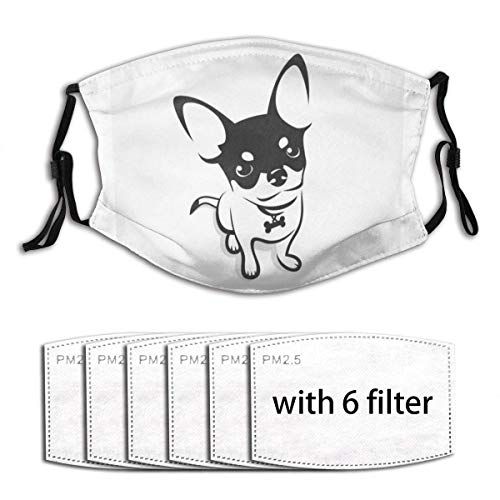 Chihuahua Dog Face Mouth Protection Filter Unisex Windproof and Dustproof Mouth Mask with Adjustable Elastic Strap Face Covering with 6 Filters