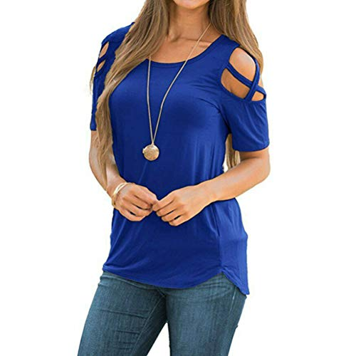 Sexy Schulterfrei Oberteil Damen Kurzarmshirt Bluse FüR Damen Tshirt Bluseshirt Dirndlbluse Bluse Oberteile Casual T-Shirt(Lila,3XL)