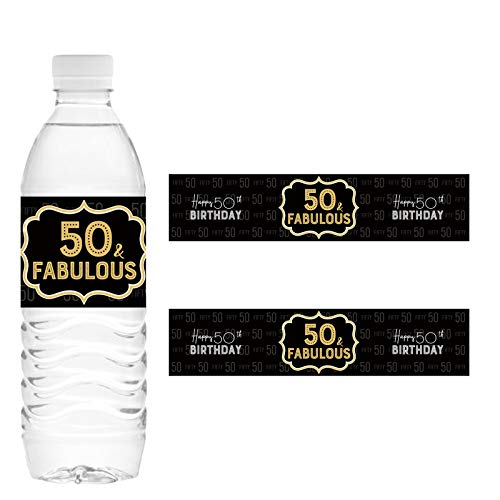 32 Stickers 50 & Fabulous Watter Bottle Labels for Happy 50th Birthday, Cheers to Fifty Years Old Birthday Party Decorations – Black