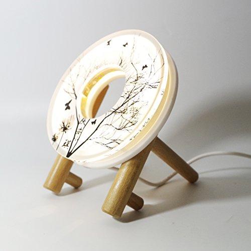 5V Usb LED Night Light Desk Lamp Acrylic With Authentic Wood Base (Warm White)