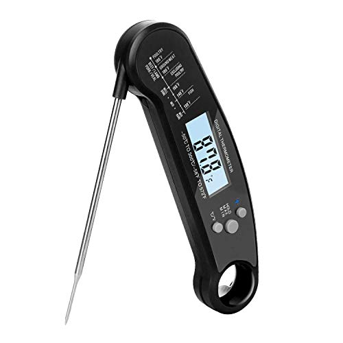 sinotron Instant Read Meat Thermometer, Digital Thermometer with Backlight & Calibration, Waterproof Ultra Fast Food Thermometer with Long Probe for Kitchen, Outdoor Cooking, BBQ, Grill, Candy (Black)