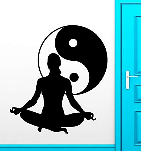 AKmene Chica Yoga Vinilo calcomanía Yin Yang Tai Chi Pared Pegatina Ventana Vidrio Tienda 58x93cm 58x93cm
