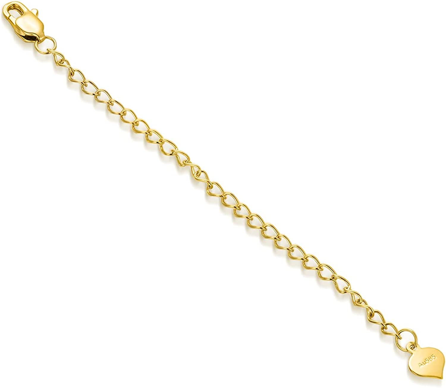 SISGEM 14K Real Gold 2/3/4 Inch Necklace Chain Extender with Lobster Claw Clasp, Dainty Durable Strong Removable Chain Extender for Gold Necklace Bracelet Anklet Jewelry