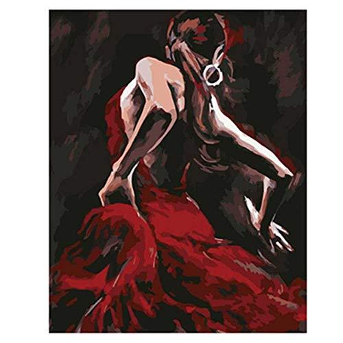 YSNMM Schilderij Door Getallen Diy Rode Jurk Danser Figuur Canvas Bruiloft Decoratie Art Picture Gift