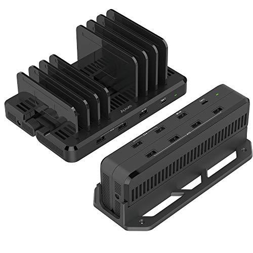 Alxum Estaciones de Carga USB C, Cargador múltiple Tipo C de 60 W y 8 Puertos para Montaje en Pared con estación de Carga rápida QC 3.0 para teléfonos celulares, Negro