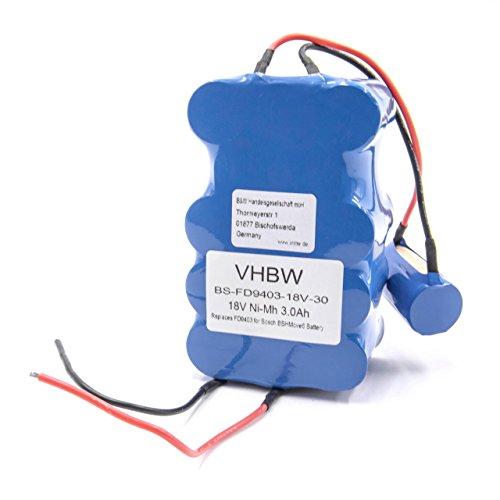 vhbw Akku kompatibel mit Bosch BBHMOVE6/04, BBHMOVE4/01, BBHMOVE4/02, BBHM1CMGB/01 BBHMOVE5/04 BBHMOVE5/03 BBHMOVE5N/01 BBHMOVE6N/01 (3000mAh, 18V, NiMH)