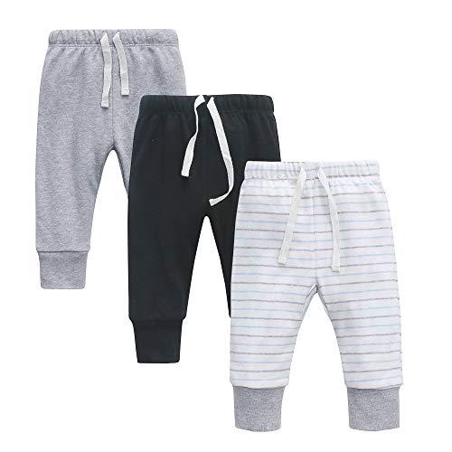 O2baby Conjunto de calça e leggings unissex de algodão orgânico, Gray/Black/Strips, 6-12 Months