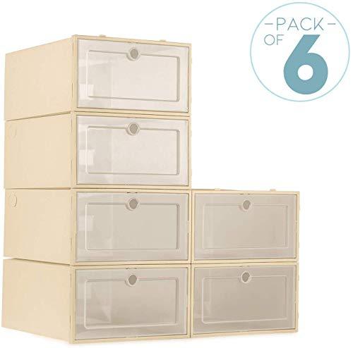 ZODDLE Schuhaufbewahrungsbox 6PCS Stabile stapelbare Aufbewahrungsbox für platzsparende Aufbewahrung