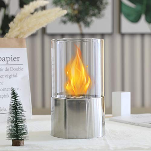 Silver Tabletop Fireplace Bio Ethanol Fuel Fire Bowl for Outdoor Indoor Garden Balcony