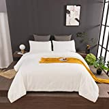 Wellboo White Fluffy Comforter Sets Solid Flannel Plush Beddings Micromink Sherpa Fluzzy Comforter Queen Pure White Warm Quilt Full Women Men Adult Teen Plain White Bedding Soft Health Durable 3 PCS