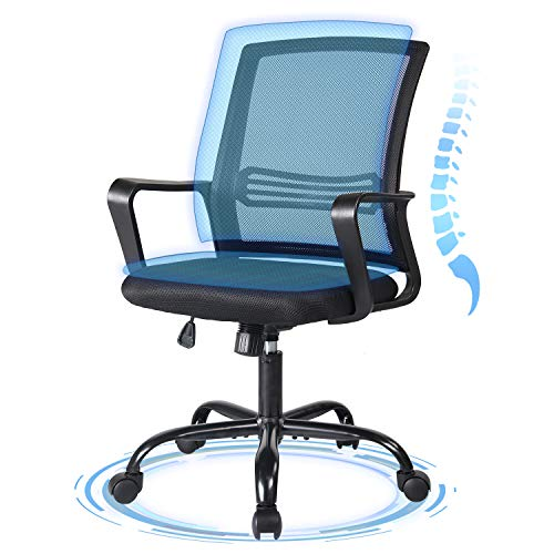 Ergonomic Office Chair, Desk Chair Mesh Computer Chair, Mid Back Task Chair with Lumbar Support and Armrest