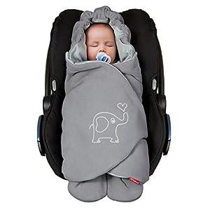 ByBoom® - Manta para envolver al bebé para el período de transición y el verano, para el asiento del bebé en el coche, asiento del Auto, por ejemplo, Maxi-Cosi, Römer, para Buggy, cochecito o cuna, Color:Gris Oscuro/Gris