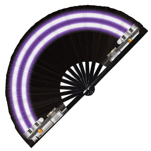 Abanico de luz plegable de bambú de mano Galaxy Laser Sword Fan Easy Cosplay Disfraz de Halloween Abanicos de mano Regalos Circuito Rave Accesorios para festivales (Fan Saber 1 Púrpura)