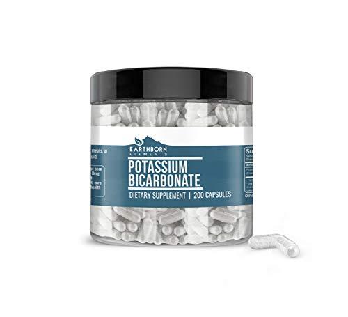 Earthborn Elements Potassium Bicarbonate (200 Capsules) Gluten-Free Potassium Supplement (800 mg Serving)